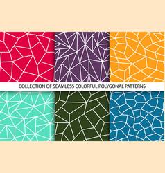 collection color polygonal seamless geometric vector image