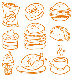 Collection stock of food element doodles vector