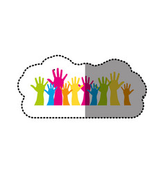 color hands up together icon vector image