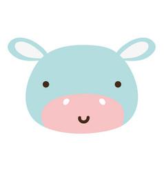 Colorful happy hippopotamus head wild animal vector