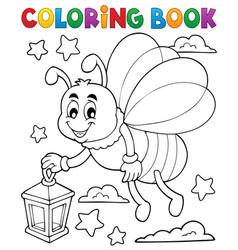 Coloring book firefly with lantern vector
