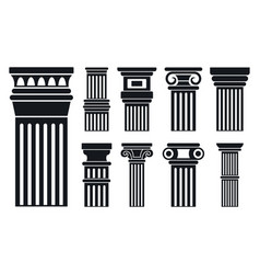 column icon set simple style vector image