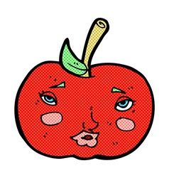 Comic cartoon apple with face vector