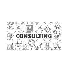 consulting thin line or banner vector image