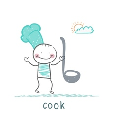 cook holding ladle vector image