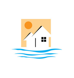 creative beach house logo design rohouse vector image