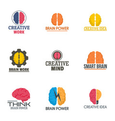 Creative brain work logo set flat style vector