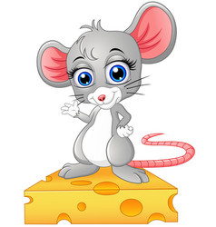 Cute mouse standing above a cheese vector