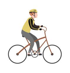 cyclist cartoon character happy man riding vector image