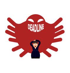 deadline pressure on businessman - office worker vector image