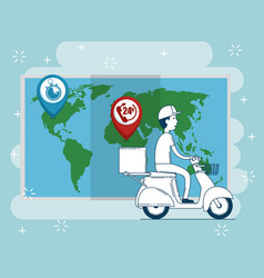 Delivery service with courier in motorcycle vector