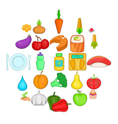 Dietary products icons set cartoon style vector