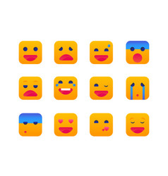 emotions - set of flat design style icons vector image