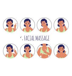 Facial massage with rose quartz roller guide flat vector