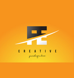 Fe f e letter modern logo design with yellow vector
