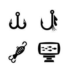 fishing equipment simple related icons vector image