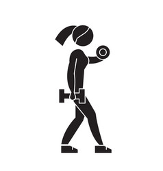 fitness woman black concept icon fitness vector image