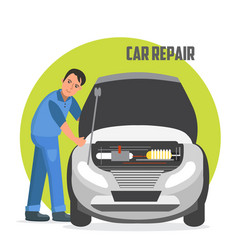 Flat horizontal banner for car repair services vector