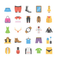 Flat icons set of fashion vector