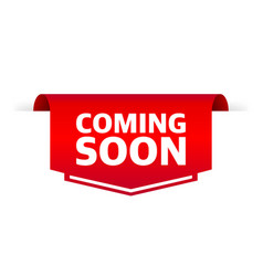 Flat poster with red coming soon label on white vector