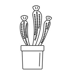 Flower cactus icon outline style vector