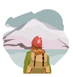Girl walking alone on a mountain trail girl looks vector