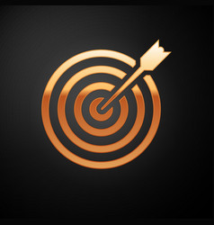 Gold target with arrow icon isolated on black vector