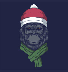 gorilla wearing a santa hat for christmas vector image