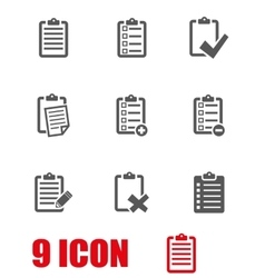 Grey check list icon set vector