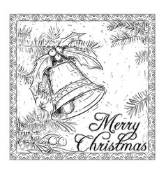 hand drawing christmas bell card design vector image
