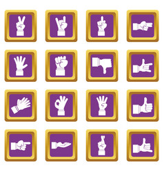 hand gesture icons set purple vector image