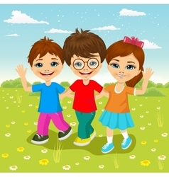 Happy caucasian children walking together vector