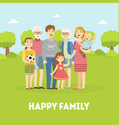 Happy family father mother grandfather vector