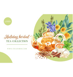 Herbal tea frame design with tea pot cup lemon vector