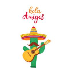 hola amigos hand drawn lettering funny cartoon vector image