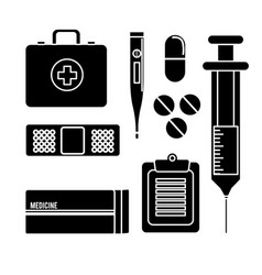 Hospital tools and first aid icon vector