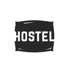 Hostel logo with black pillow vector