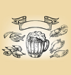 Icon with mug beer fish lobster chips and vector