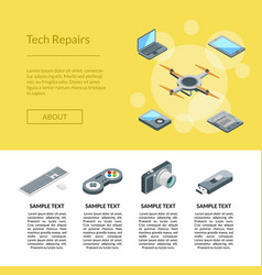 isometric gadgets icons landing page vector image
