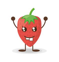 kawaii strawberry funny character vector image