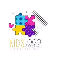 Kids club logo original design bright badge for vector