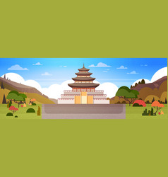 korea palace or temple view way to traditional vector image