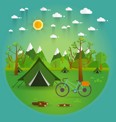 Landscapehiking and camping flat vector