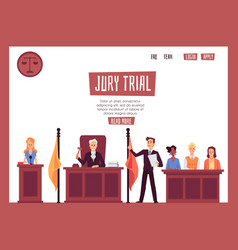 Legal representation in court banner with people vector
