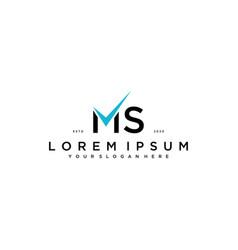 Letter ms checklist logo design concept vector
