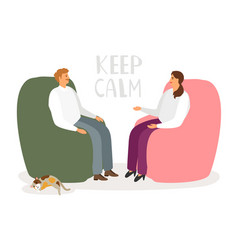 Man and woman are talking in a relaxed atmosphere vector