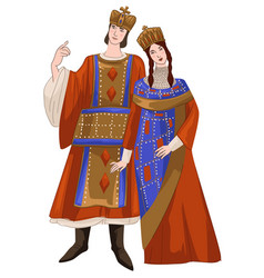 man and woman wearing traditional byzantine suit vector image