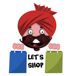Man with turban is holding shopping bags on vector
