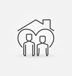 Man with woman under house roof line icon vector