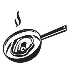Meat on griddle icon simple style vector
